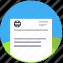 document, invitation, page, paper, passport, text, travel, visa icon