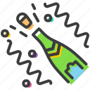 bottle, celebrate, celebration, champagne, festival, open, party icon
