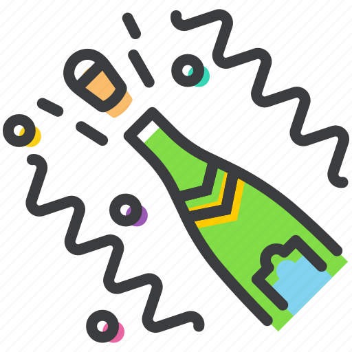 bottle, celebrate, celebration, champagne, festival, open, party icon