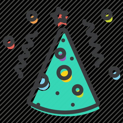 birthday, cap, celebrate, cone, merry, new year, party icon
