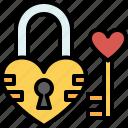 padlock, lock, key, love, valentines, passion, heart