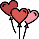 heart, balloon, decoration, love, valentines, passion, party icon