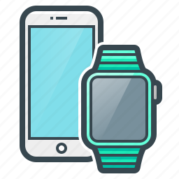apple, devices, gadgets, smart watch, smartphone, telephone icon