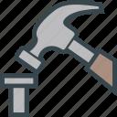 hammer, hardware, nail, pound, tool icon