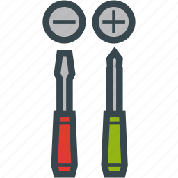 cross, screwdrivers, slotted, tool icon