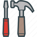 hammer, screwdriver, slotted, tool, tools icon