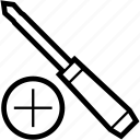 cross, head, screwdriver, tool icon
