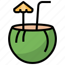 alcohol, beach, cocktail, coconut, drink, food, holidays icon