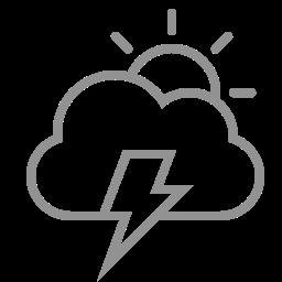 cloud, lightning, sun icon