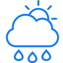 cloud, raindrops, sun icon