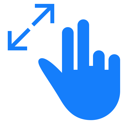 fingers, out, resize, two icon