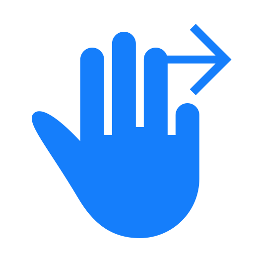 fingers, right, swipe, three icon
