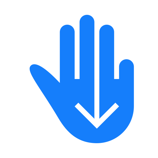 down, fingers, swipe, three icon