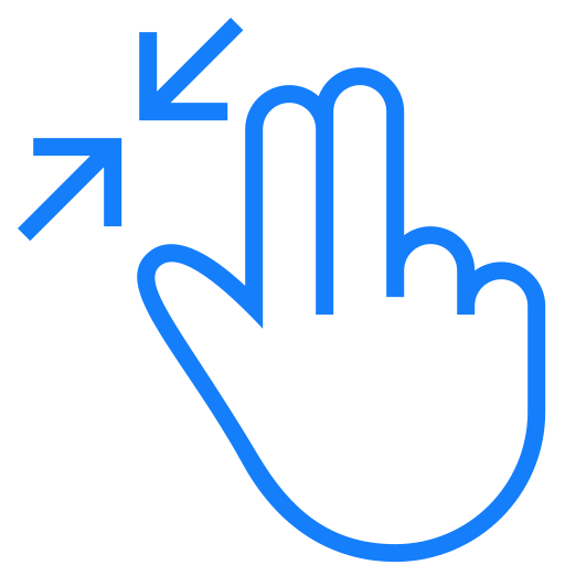 fingers, in, resize, two icon