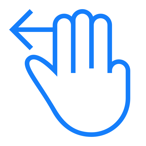 fingers, left, swipe, three icon