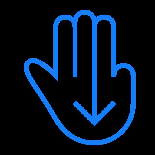down, fingers, swipe, three icon