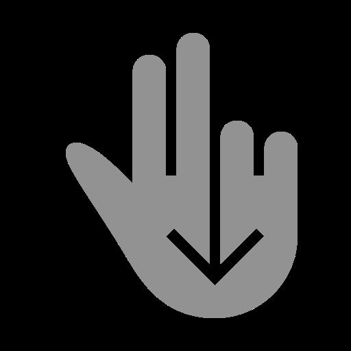 down, fingers, swipe, two icon
