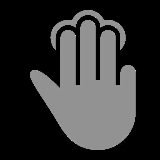 fingers, tap, three icon