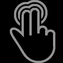 double, fingers, tap, three icon