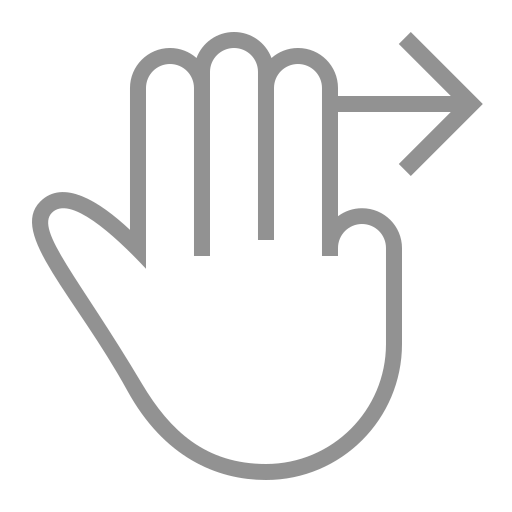 fingers, right, swipe, three icon
