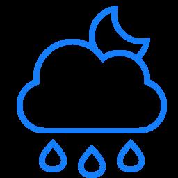 cloud, moon, raindrops icon