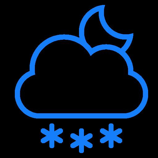 cloud, moon, snowflakes icon