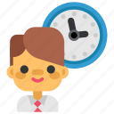 business, deadline, headhunting, man, marketing, office, time icon