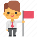 business, flag, headhunting, lider, man, office, win icon