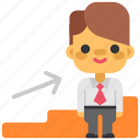 business, career, headhunting, ladder, man, office, promotion icon