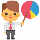 business, graph, headhunting, man, marketing, office, piechart icon