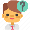 business, headhunting, man, office, question, think, user icon