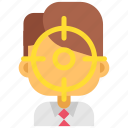 business, goal, headhunting, man, marketing, office, target icon