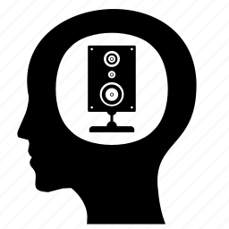 acoustic, head, listen, man, music icon