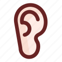 deaf, ear, ears, listen, listening, sound bars, sound waves icon