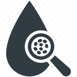 blood drop, blood examine, blood test, magnifier, medical test icon