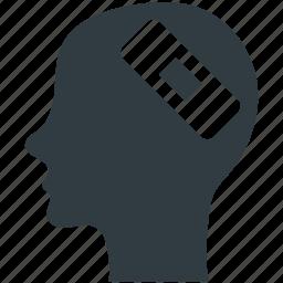 bandage, head injury, human head, injury aid, wound aid icon
