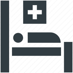 health clinic, healthcare, hospital, hospital room, patient bed icon