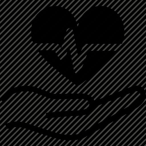 beat, cardio, care, ecg, hands, health, heart icon
