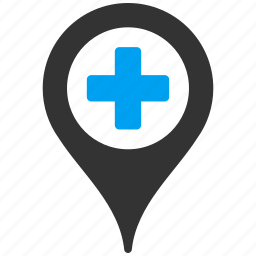 clinic, hospital, location, map marker, medical, navigation, pin icon