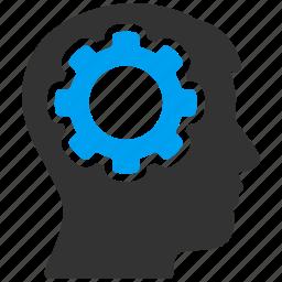 brain, brainstorming, engineering, gear, head, idea, mind icon