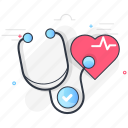 checkup, health, heart, medical, stethoscope icon