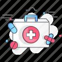 aid, bandage, box, drugs, first, kit, medical icon