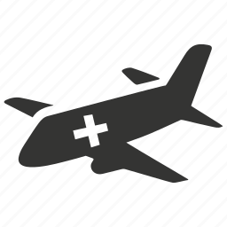 air ambulance, cross, emergency, medical airplane, medical help, rescue, vehicle icon