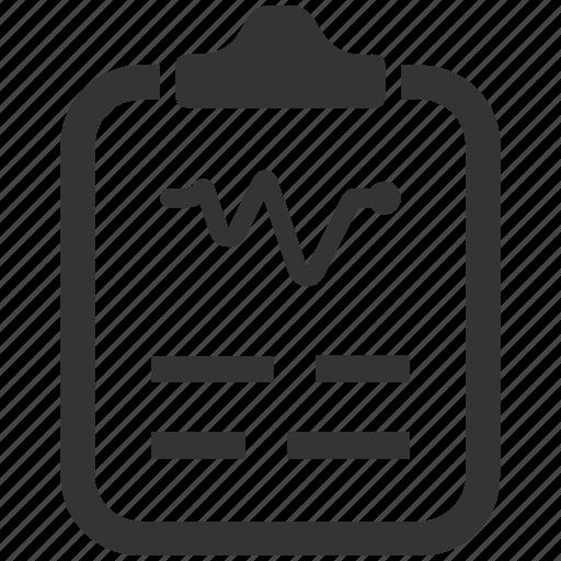 cardiogram, diagnosis, health, medical, medical report, report icon