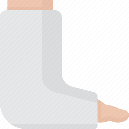 ankle, bone, broken, broken leg, cast, injury, leg icon
