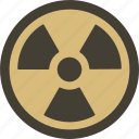 attention, danger, fallout, hazard, radioactive, warning icon
