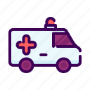 ambulance, car, delivery, emergency, medical, transport, vehicle icon