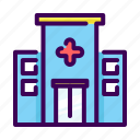 building, clinic, doctor, healthcare, hospital, location, medical icon