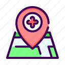 gps, healthcare, hospital, location, map, navigation, pin icon
