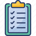 checklist, diagnostics, document, list, medical record, symptom icon